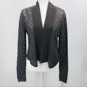 Stella Carakasi Gray/Black Open Front Cardigan